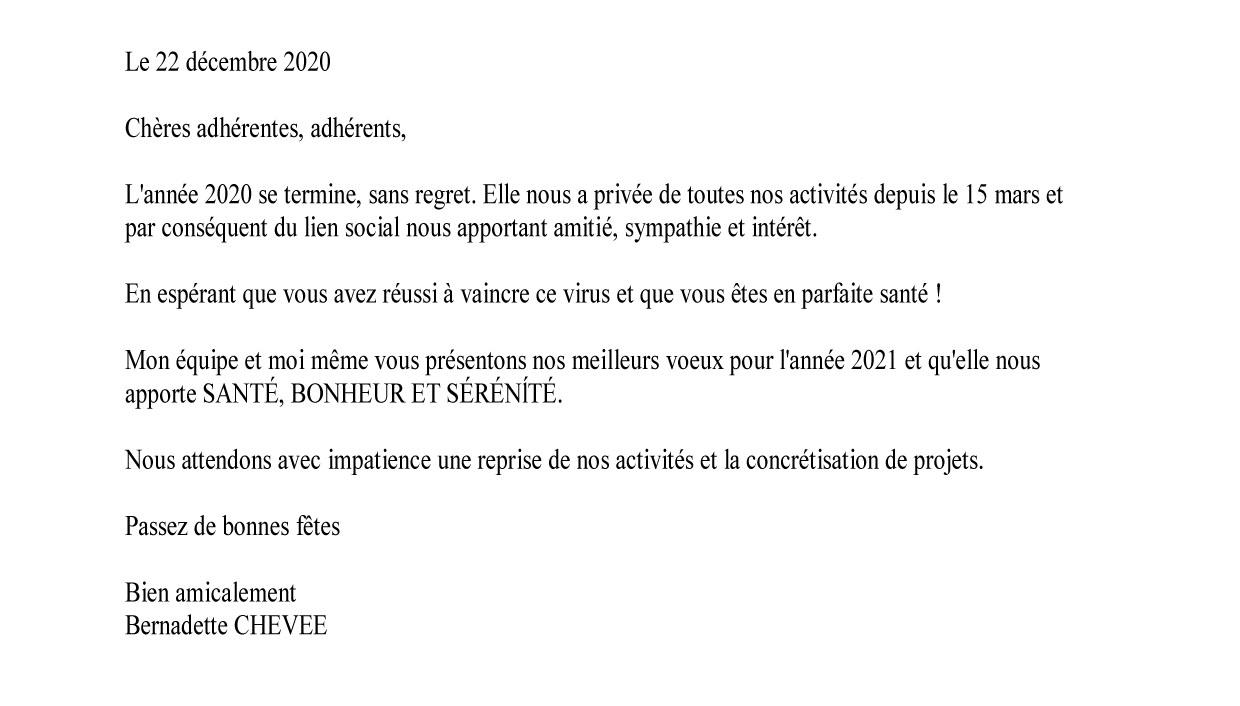 Courrier adherents 2020